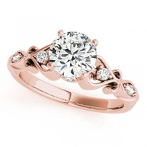 Round Solitaire Diamond Heart Engagement Ring 14k Rose Gold (2.10ct)