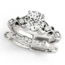 Round Diamond & Heart Engagement Ring Bridal Set 14k White Gold (2.15ct)