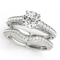Vintage Style Cathedral Engagement Ring Bridal Set 14k W. Gold (2.50ct)