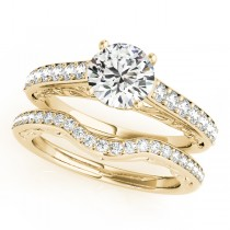 Vintage Style Cathedral Engagement Ring Bridal Set 18k Y. Gold (2.50ct)