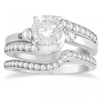 Diamond Swirl Engagement Ring & Band Bridal Set 14k White Gold 0.58ct