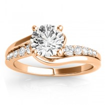 Diamond Engagement Ring Setting Swirl Design in 14k Rose Gold 0.25ct