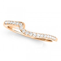 Diamond Accented Contour Shape Wedding Band in 14k Rose Gold (0.25ct)