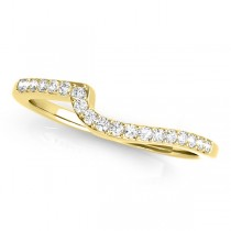 Diamond Accented Contour Shape Wedding Band in 14k Yellow Gold (0.25ct)