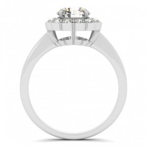 Diamond Floral Halo Engagement Ring 14k White Gold (1.33ct)