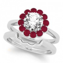 Diamond & Ruby Halo Bridal Set Palladium (1.33ct)