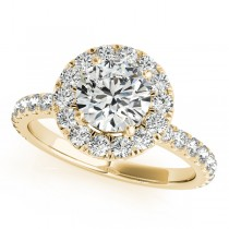 French Pave Halo Diamond Engagement Ring Setting 18k Yellow Gold 1.00ct