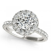 French Pave Halo Diamond Engagement Ring Setting 14k White Gold 1.50ct