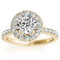 French Pave Halo Diamond Engagement Ring Setting 18k Yellow Gold 0.75ct