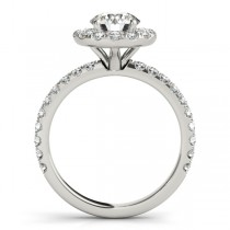 French Pave Halo Diamond Engagement Ring Setting 14k White Gold 0.75ct