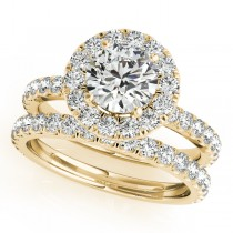 French Pave Halo Diamond Bridal Ring Set 14k Yellow Gold (1.95ct)