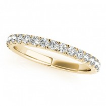 French Pave Diamond Ring Wedding Band 18k Yellow Gold (0.45ct)
