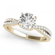 Round Cut Diamond Engagement Ring, Twisted Band 14k Rose Gold 1.20ct