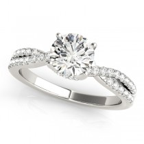 Round Cut Diamond Engagement Ring, Twisted Band 18k White Gold 1.20ct