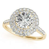 Diamond Double Halo Engagement Ring Prong Set 14k Yellow Gold 3.00ct