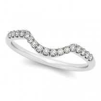 Diamond Accented Contour Wedding Band in 14k White Gold (0.20ct)