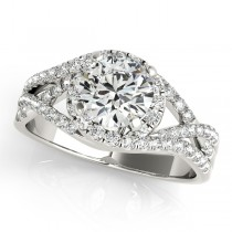 Twisted Three Row Halo Engagement Ring Palladium 1.00ct