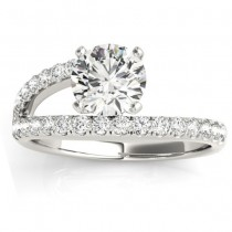 Bypass Diamond Engagement Ring 14k White Gold 0.33ct