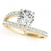 Bypass Diamond Engagement Ring 14k Yellow Gold 0.33ct