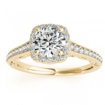Diamond Square Halo Carved Engagement Ring 14k Yellow Gold (0.35ct)