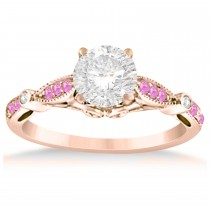 Marquise & Dot Pink Sapphire Vintage Engagement Ring 14k Rose Gold 0.13ct