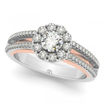 Diamond Halo Flower Engagement Ring & Accents Two Tone 14k Gold 0.98ct