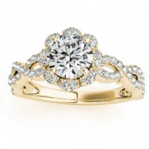 Twisted Halo Diamond Flower Engagement Ring Setting 18k Y. Gold 0.63ct