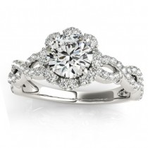 Twisted Halo Diamond Flower Engagement Ring Setting Platinum 0.63ct