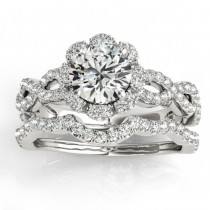 Halo Diamond Engagement & Wedding Rings Bridal Set Platinum 0.83ct