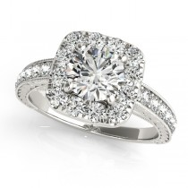 Square Halo Diamond Engagement Ring Vintage Style 14k W. Gold 1.50ct