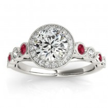 Ruby and Diamond Halo Engagement Ring 14K White Gold (0.36ct)