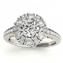 Diamond Halo Round Engagement Ring Setting 18k Two Tone Gold (1.01ct)