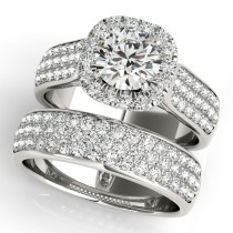Three Row Halo Diamond Engagement Ring Bridal Set Platinum (2.38ct)