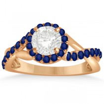 Twisted Halo Blue Sapphire Engagement Ring Setting 14k R. Gold 0.30ct