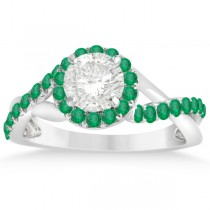 Twisted Shank Halo Emerald Engagement Ring Setting 14k W Gold 0.30ct