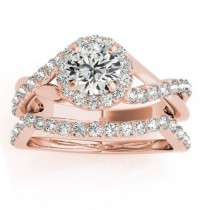 Diamond Engagement Ring Setting and Wedding Band 14k Rose Gold (0.50ct)