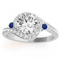 Halo Swirl Sapphire & Diamond Engagement Ring 14k White Gold (0.48ct)
