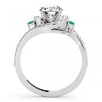 Halo Swirl Emerald & Diamond Engagement Ring 14k White Gold (0.48ct)