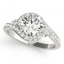 Halo Swirl Diamond Bridal Set 14k White Gold (1.79ct)