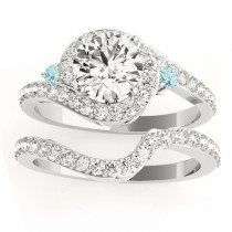 Halo Swirl Aquamarine & Diamond Bridal Set 18K White Gold (0.77ct)