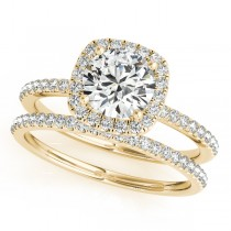 Square Halo Round Diamond Bridal Set Ring & Band 14k Yellow Gold 1.88ct