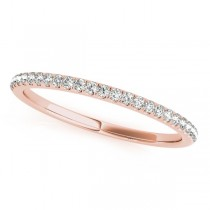Diamond Accented Semi Eternity Wedding Band in 14k Rose Gold (0.10ct)