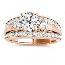 Wide-Band Engagement Ring Diamond Side Stones 14K Rose Gold 0.75ct