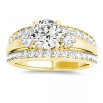 Wide-Band Engagement Ring Diamond Side Stones 14K Yellow Gold 0.75ct