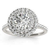 Diamond Double Halo Engagement Ring Setting Palladium (0.33ct)
