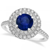 Double Halo Round Blue Sapphire Engagement Ring 14k Two-Tone Gold 1.42ct
