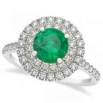 Double Halo Round Emerald Engagement Ring 14k Two-Tone Gold (1.42ct)