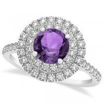 Double Halo Amethyst Ring & Band Bridal Set 14k White Gold 1.59ct
