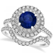 Double Halo Blue Sapphire Ring & Band Bridal Set 14k Two-Tone Gold 1.59ct