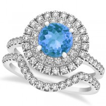 Double Halo Round Blue Topaz Ring & Band Bridal Set 14k Two-Tone Gold 1.59ct